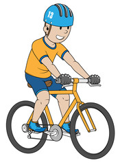 Boy is riding a bicycle. Color flat illustration