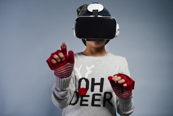 Child using virtual reality glasses