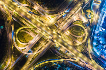 Above view of transport intersection city road at night