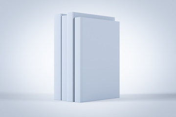 Blank book cover on white background. 3D render