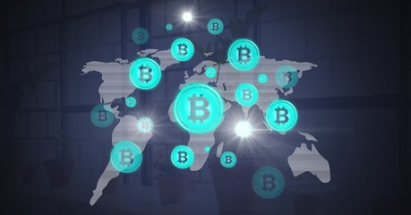 Bitcoin graphic icons on world map