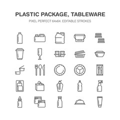 Plastic packaging, disposable tableware line icons. Product packs, container, bottle, canister, plates cutlery. Container thin signs for shop, synthetic material goods production. Pixel perfect 64x64.