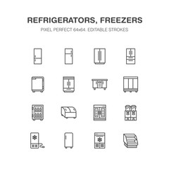 Refrigerators flat line icons. Fridge types, freezer, wine cooler, commercial major appliance, refrigerated display case. Thin linear signs for household equipment shop. Pixel perfect 64x64.