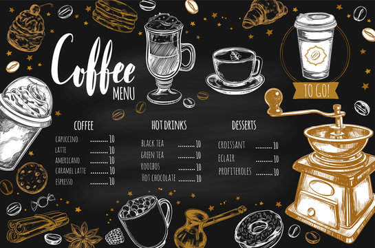 Coffee and Bakery restaurant Menu, brochure. Vector hand drawn template with icons and handwritten Lettering, Calligraphy.