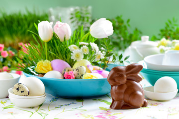 Easter table setting with chocolate bunny