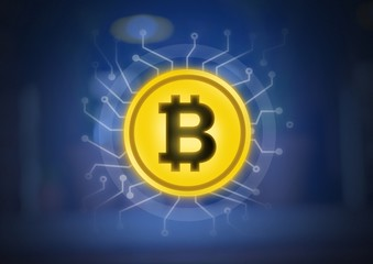 Bitcoin graphic icon with energy circuits