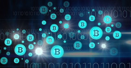 bitcoin graphic icons and binary code