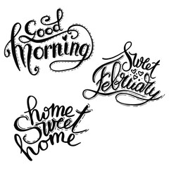 Good Morning lettering text. Vector illustration
