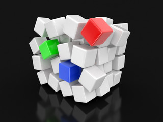 Cube falls apart. Image with clipping path