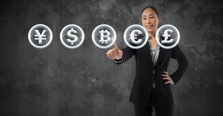 Businesswoman touching  bitcoin graphic icon and money