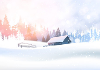 Rural Winter Landscape With House In Snowy Forest Pine Tree Woods Background Flat Vector Illustration