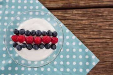 Fruit ice cream on wooden table