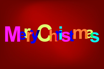 Colorful modern text Merry Christmas, celebration greeting card, vector art