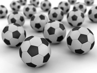 Pile of Soccer footballs. Image with clipping path