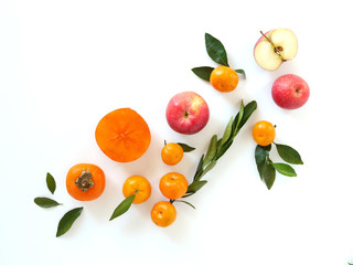 Fruits isolated on white background, top view.