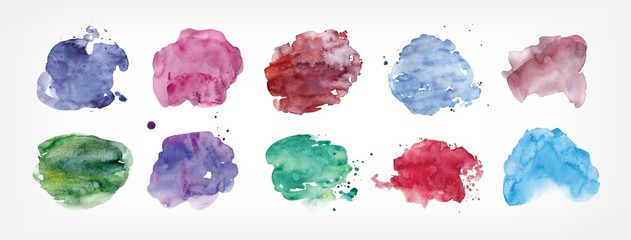 Collection of stains hand painted with watercolor isolated on white background. Bundle of paint blots of different shape and color. Set of aquarelle design elements. Colorful vector illustration.