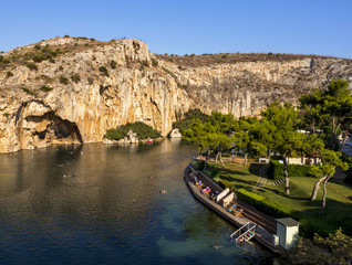 Top view of the recreation area and the therapeutic lake Vouliagmeni in Athens