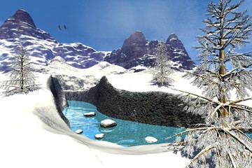 Mountains and winter, an alpine landscape, snowy trees, stones in the river and birds in the blue sky.