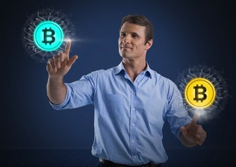 Businessman touching bitcoin graphic icons