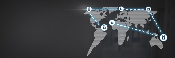 Security lock icons connecting on map
