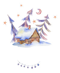Winter watercolor vintage card with house covered snow