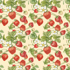 Watercolor seamless pattern with Strawberry leaves with flowers and ripe berries on white. Background design for natural cosmetics