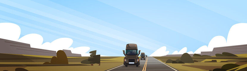 Big Semi Truck Trailer Driving On Coutryside Road Over Sunset Landscape Vector Illustration