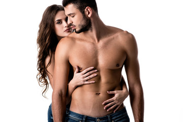 front view of sensual half naked couple in jeans hugging isolated on white
