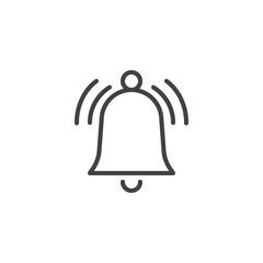 Ringing bell line icon, outline vector sign, linear style pictogram isolated on white. Alarm handbell symbol, logo illustration. Editable stroke