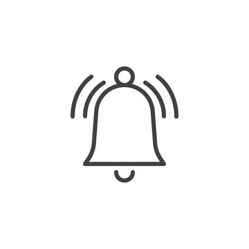 Ringing bell line icon, outline vector sign, linear style pictogram isolated on white. Alarm handbell symbol, logo illustration. Editable stroke
