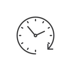 Passage time line icon, outline vector sign, linear style pictogram isolated on white. Clockwise clock symbol, logo illustration. Editable stroke