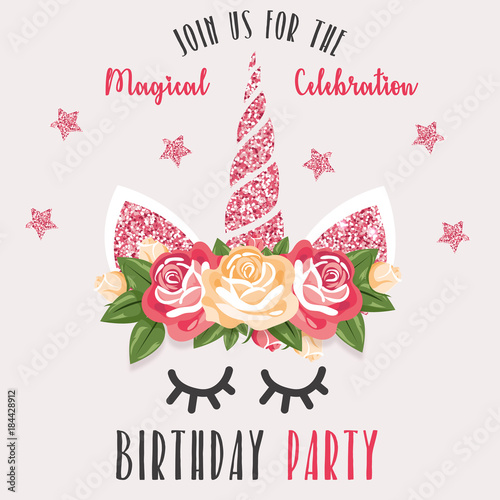Birthday Party invitation with unicorn Stock image and royaltyfree