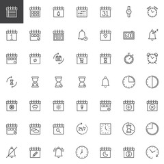 Time and date line icons set, outline vector symbol collection, linear style pictogram pack. Signs, logo illustration. Set includes icons as calendar, hourglass, clock, watch, agenda, binder, bell