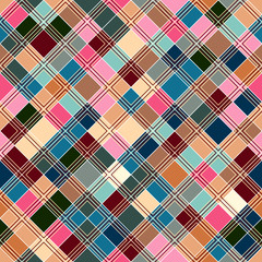 Seamless tartan pattern. Checkered pastel pink blue beige texture for clothing fabric prints and home textile.