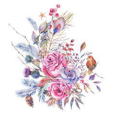 Watercolor vintage roses, thistles, wildflowers and birds