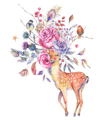 Watercolor floral greeting card with cute deer