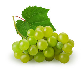 Ripe bunch green grape with leaf