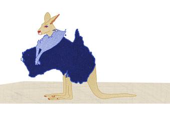 Australian Kangaroo - drawing with map