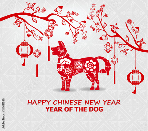 Happy new year 2018 greeting card and chinese new year of the dog ...