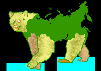 Russian Bear - drawing with map