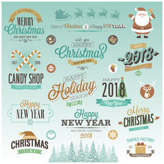 Wall Mural - Christmas set - labels,