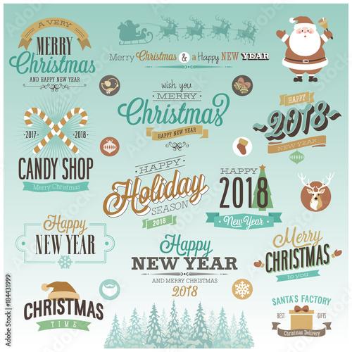 Wall mural Christmas set - labels,