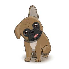 French Bulldog Cartoon Puppy Character Portrait