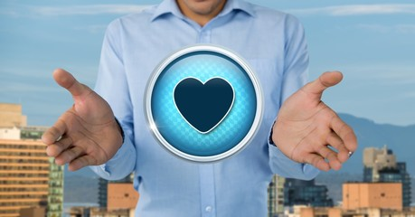 Heart love icon and Businessman with hands palm open in city