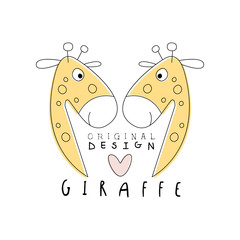 Giraffe logo template original design, cute funny animals label easy editable for Your design hand drawn vector Illustration
