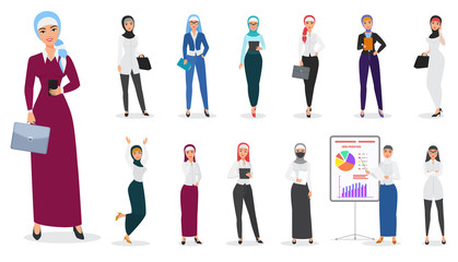Vector Set of muslim arabian business woman character poses.