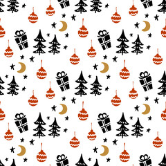 Seamless Christmas patterns. Vector design for the winter holidays