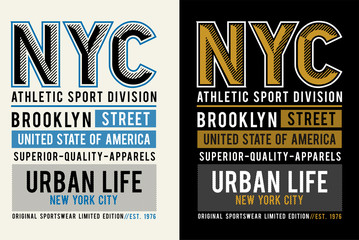 NYC athletics sport for t-shirt graphic, vector image