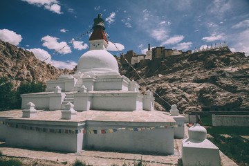 traditional white stupa in Leh, Indian Himalayas