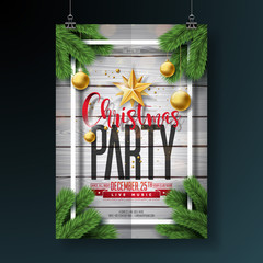 Vector Merry Christmas Party Flyer Design with Holiday Typography Elements and Ornamental Balls on Vintage Wood Background. Premium Celebration Poster Illustration.